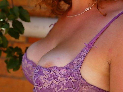 Freckled redhead with big natural tits masturbating