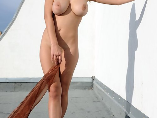Busty brunette nude on a rooftop