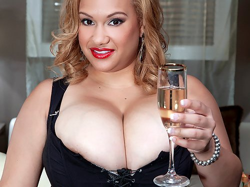 Busty Latina shows off her big tits with huge areolas