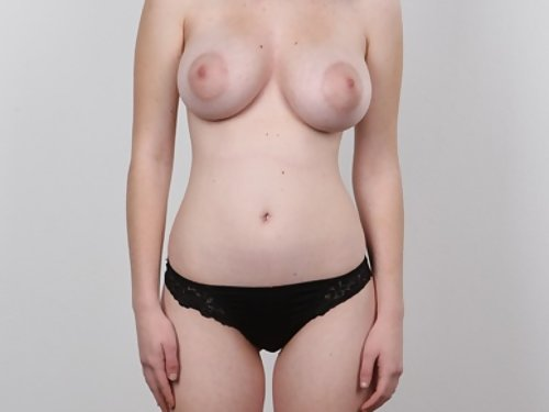 Casting pics of a freckled black-haired girl with the most amazing big tits