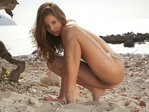 Atheltic brunette with puffy nipples nude at the beach