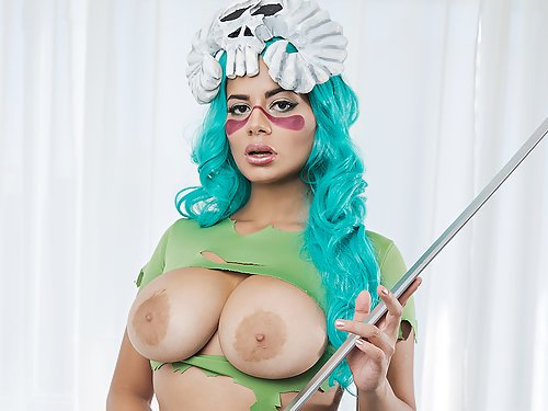 Busty girl with large areolas in a cosplay costume