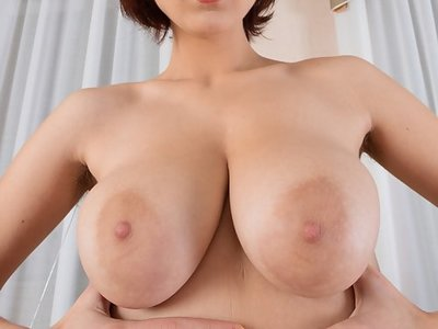 Busty redhead amateur spreads her hairy holes