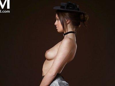 Busty brunette nanny stripping