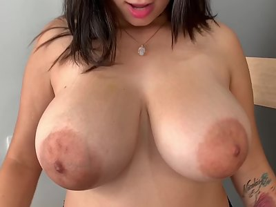 Chubby brunette with saucer nipples shows off her saucer nipples