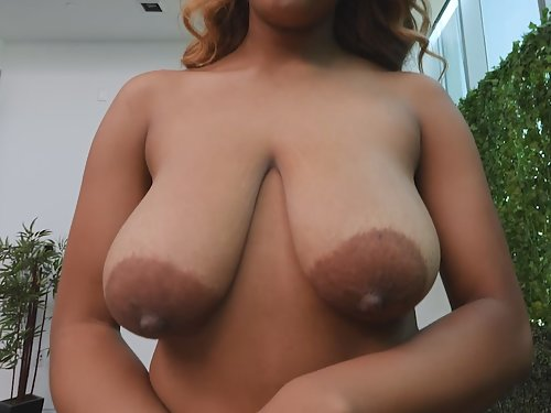 Busty black girl with saucer nipples getting fucked
