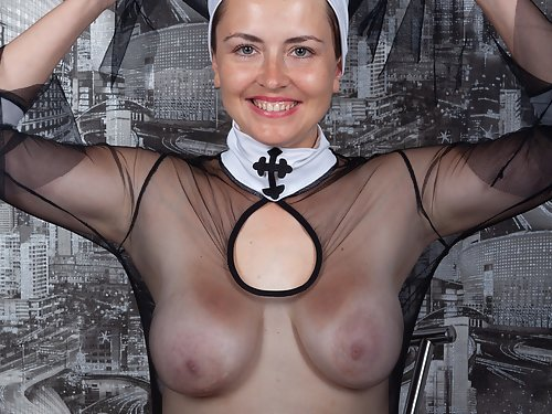 Sexy busty nurse toying her hairy pussy