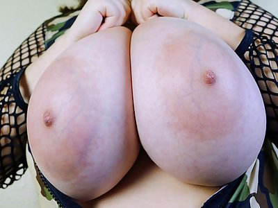 Chubby brunette Milly Marks unleashes her huge veiny tits