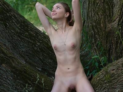 Brunette with puffy nipples nude in a tree