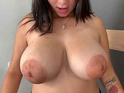 Chubby Latina shows off her huge pancake areolas