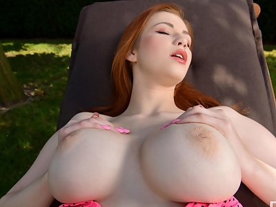 Busty Lucy in the Backyard