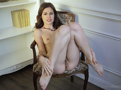 Brunette with small nipples spreading