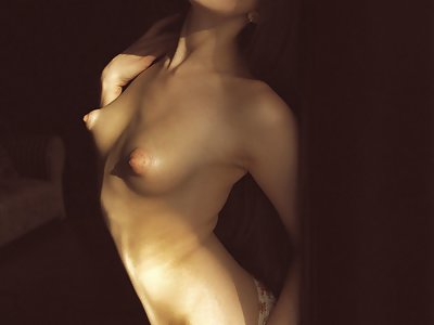 Freckled brunette with huge puffy nipples masturbating