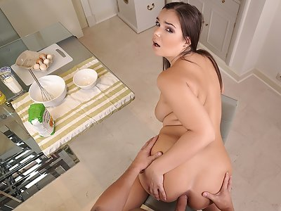 Chubby brunette with big tits getting fucked in the ass