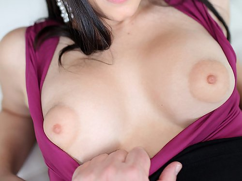 Black-haired girl with puffy nipples swallows cum