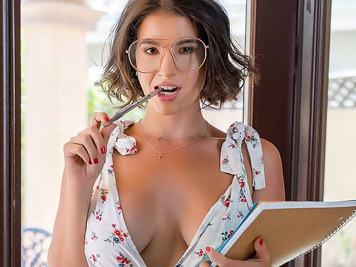 Nerdy busty girl getting fucked on the couch