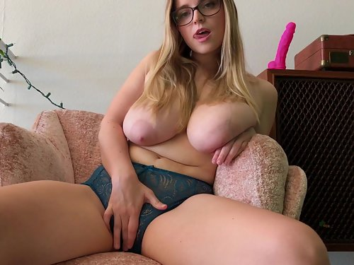 Busty blonde Codi Vore riding a toy