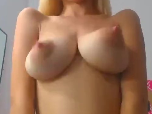 Blonde with puffy nipples bounces her amazing tits