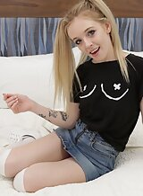 Freckled blonde teen with small tits getting fucked