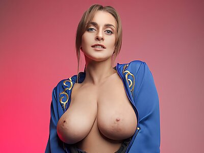 Busty babe getting fucked in a cosplay uniform