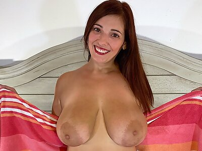 Chubby brunette shows off her big boobs