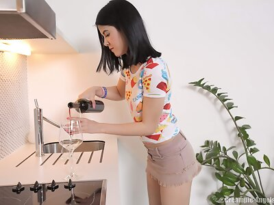Black-haired teen gets a big creampie