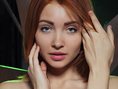 Perfect redhead babe Kika shows off her big pussy lips