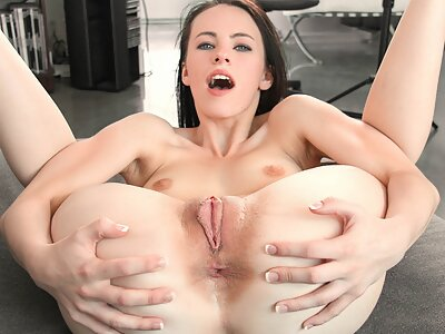 Horny brunette fucked and covered in cum