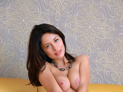 Brunette with big tits and big pussy lips
