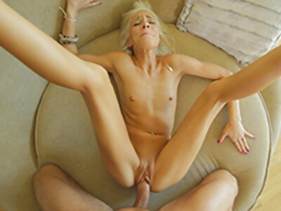 Flat-chested blonde with a fat pussy fucked and covered in cum