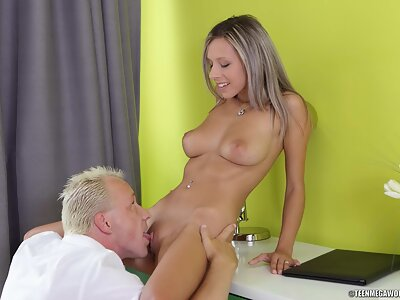 Busty blonde girl is licked and fucked