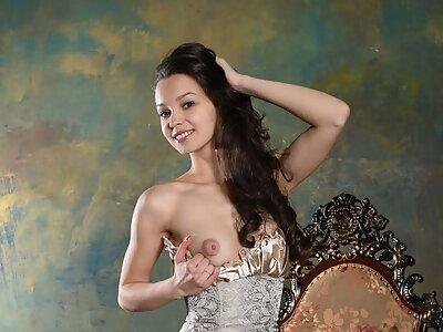 Cute long-haired brunette in lingerie