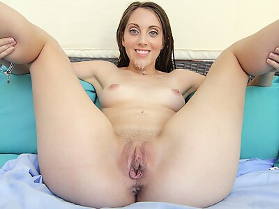 Brunette with big pussy lips fucked and covered in cum