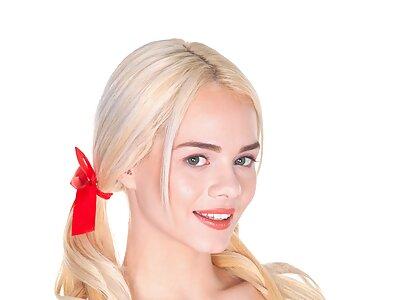Sexy blonde Elsa Jean spreads her meaty pussy lips