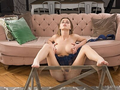 Busty girl plays with her big pussy lips