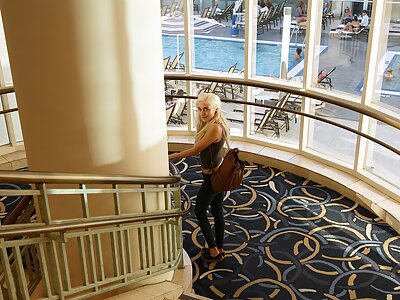 Gorgeous blonde Naomi Woods flashing in a hotel