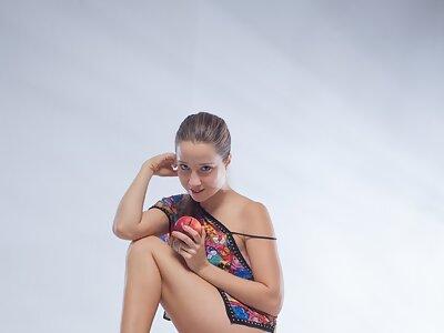 Long-haired hottie Taissa Shanti posing nude