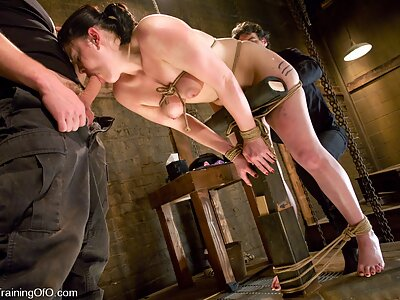 Chubby slave girl tied-up and fucked hard