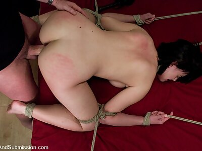 Pretty natural tit girl bound and fucked