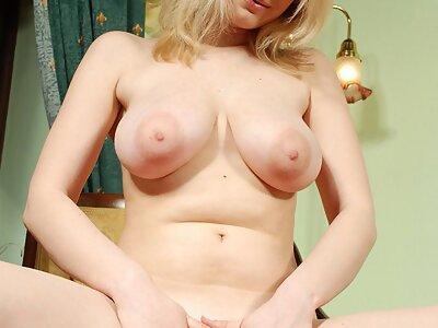 Busty blonde with big areolas toying