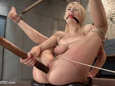 Busty blonde tied-up and fucked