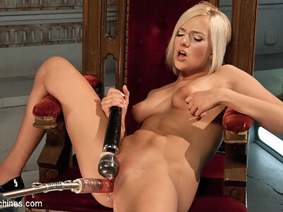 Hot blonde babe gets fucked hard and fast with an array of machines.