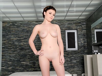 Stunning busty brunette fucked in both holes at once by 2 guys