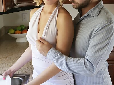 Blonde with large areolas fucked in the kitchen