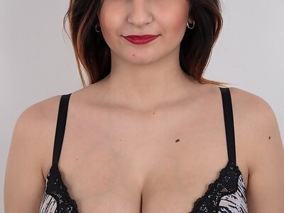 Casting pics of a brunette with perfect big tits and large areolas