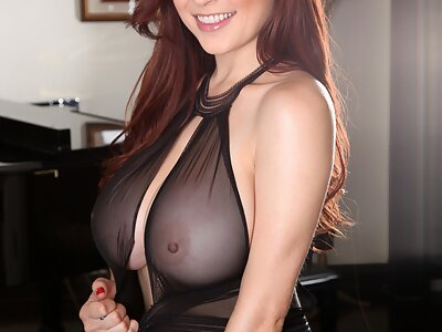 Busty brunette Tessa Fowler in see-through lingerie