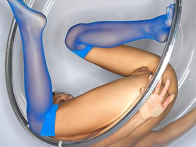 Brunette with huge pussy lips in a bubble chair