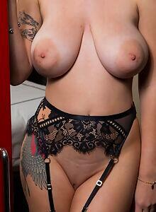 Sexy brunette Gabbie Carter shows off her perfect big boobs