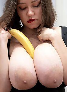 Chubby brunette with big boobs masturbating