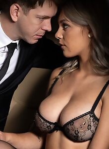 Busty babe seduces him in the backseat of a limousine